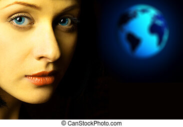 Woman and the Earth - Woman face and the Earth. Over dark ...