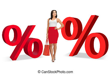 woman and two big red percent signs