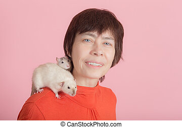 woman and two curious rats