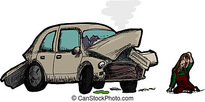 Woman and Wrecked Car - Injured woman next to wrecked...