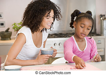 Woman and young girl in kitchen with art project smiling