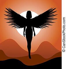 woman-angel, silhouette