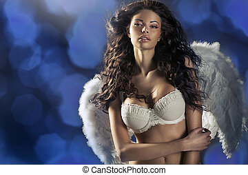 Woman angel with hundreds flashes in the background
