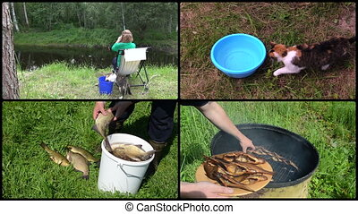 Woman angling with cat pet. Smoked fish. Footage clips collage.