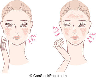 Beautiful woman annoyed with the ruddy, sensitive skin causing irritation, itch, red complexion. Isolated on white.