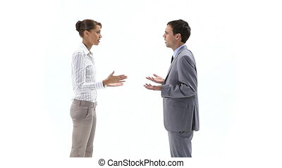 Woman annoying against a man