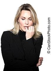 woman anxious sadness portrait studio - beautiful blond hair...