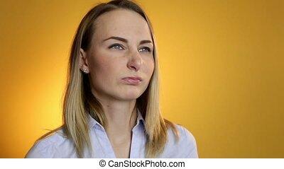 Woman applies nasal spray isolated. - Woman applies nasal...