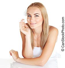 Woman apply anti wrinkle cream - Sensual woman apply anti...