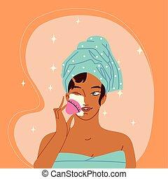 woman apply makeup
