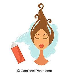 Woman applying hair spray - Vector illustration of female ...