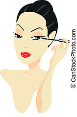 Woman Applying Make-up - Woman applying make-up isolated on...