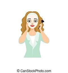 Woman Applying Mask Home Spa Treatment Procedure