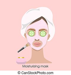 Woman applying moisturizing mask.