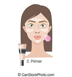 Woman applying primer.