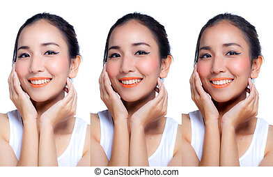 Woman applying skin white by step beauty concept.