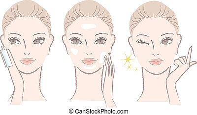 Set of Beautiful, fresh woman portrait, Applying skincare toner and cream on her face. Winking with One finger.