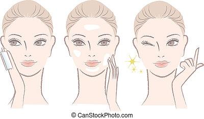 woman applying skincare lotion - Set of Beautiful, fresh...