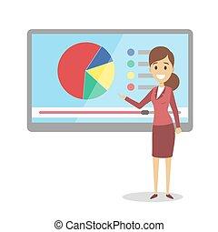 woman., apresentação, negócio