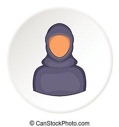 Woman arab icon, cartoon style