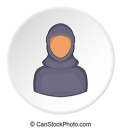 Woman arab icon, cartoon style - Woman arab icon. Cartoon...