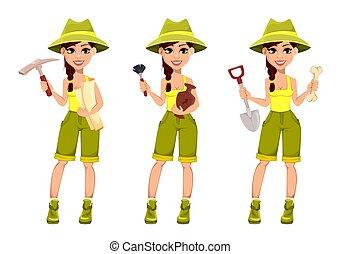 Woman archaeologist. Cute cartoon character - Beautiful...