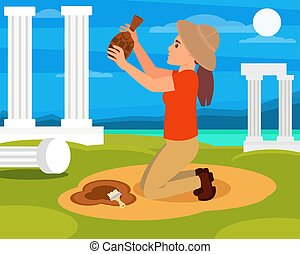 Woman archaeologist with old ceramic jug in hands. Archaeological excavations in Greece. Columns, sea and blue sky on background. Flat vector design