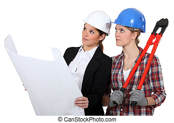 woman architect and woman mason