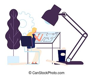 Woman architect at work. Vector girl engineer character. Professional architect draws project vector illustration. Engineering architect job drawing