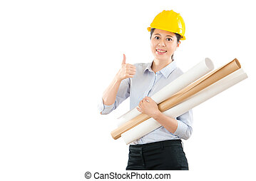 woman architect gesture thumb up