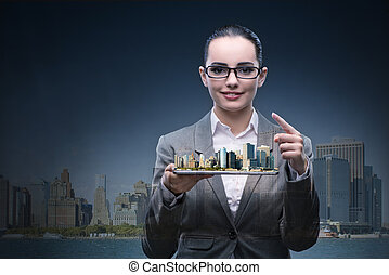 Woman architect in city urban planning concept