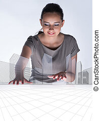 Woman architect in urban planning concept