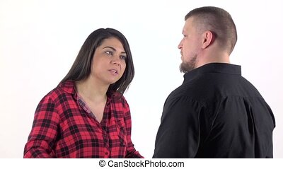 Woman arguing with her man and waving his arms. Slow motion