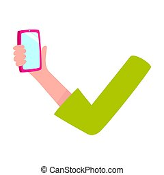 Woman arm, hand holding mobile phone, smartphone with empty screen