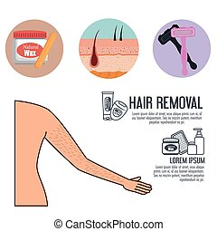woman armpit with hair removal icons