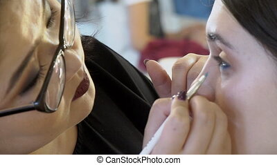 Woman artist is doing makeup on female face in beauty salon...
