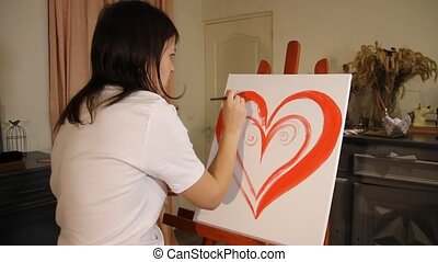 woman artist painting in her studio