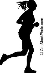 woman as a runner silhouette vector