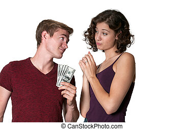 Woman asking for money from a man