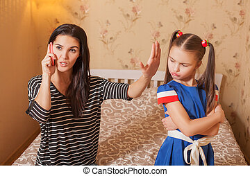 Woman asks the child to be silent
