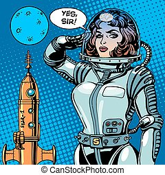 Woman astronaut captain of a spaceship science fiction....