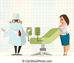 Woman at a gynecologist appointment - Vector illustration of...