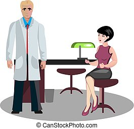 Woman at a reception with a doctor