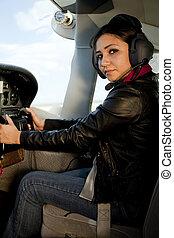 Woman at airplane controls