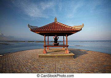 Woman at Bali seaside - 20-25 years woman portrait relaxing...