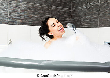 woman at bathroom