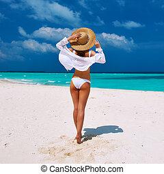 Woman at beach - Woman in bikini at tropical beach