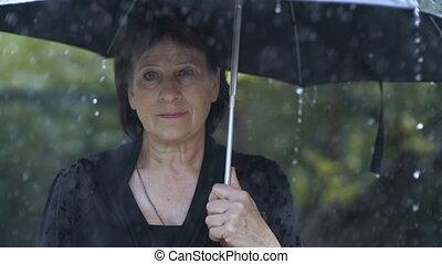 Woman at black clothes under umbrella at rain
