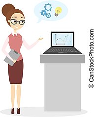Woman at business presentation.