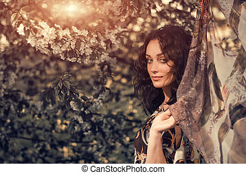 woman at cherry tree